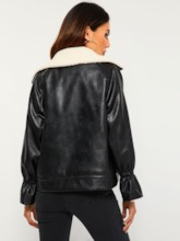Notched Lapel Dual Pockets Women's PU Jacket
