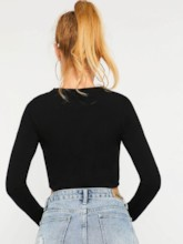 Slim Round Neck Cropped Women's T-Shirt