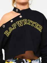 Stand Collar Hollow Letter Embroidery Women's Sweatshirt