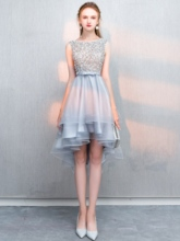 Bateau Neck Beaded Bowknot High Low Cocktail Dress