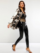 Fluffy Color Block Women's Faux Fur Overcoat