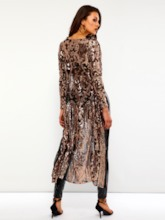 Mesh Sequins See-Through Women's Trench Coat