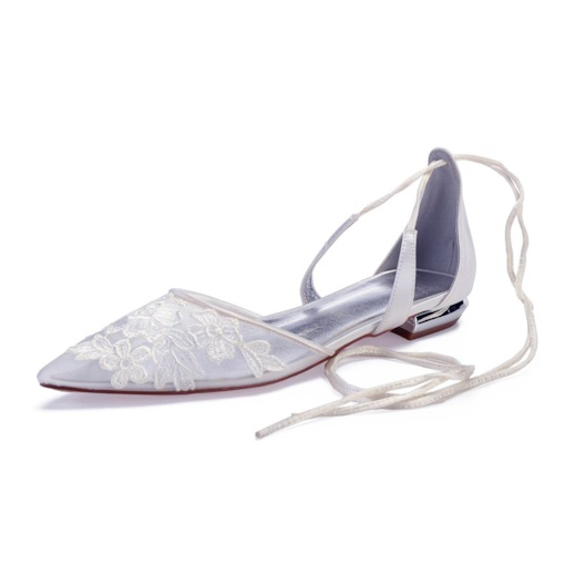 Block Heel Lace-Up Pointed Toe Customized Women's Wedding Shoes