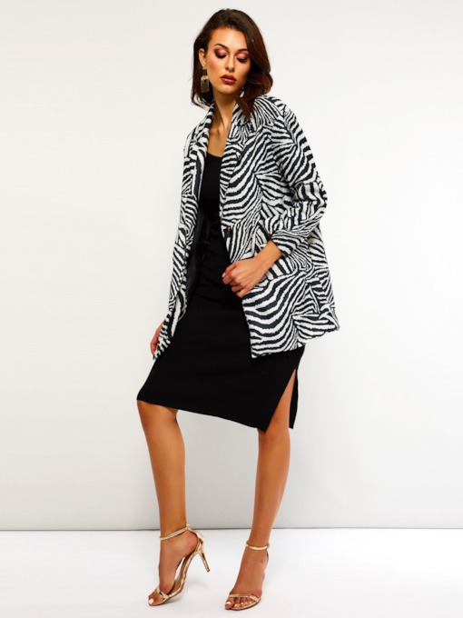 Zebra Stripe One Button Mid-Length Women's Overcoat