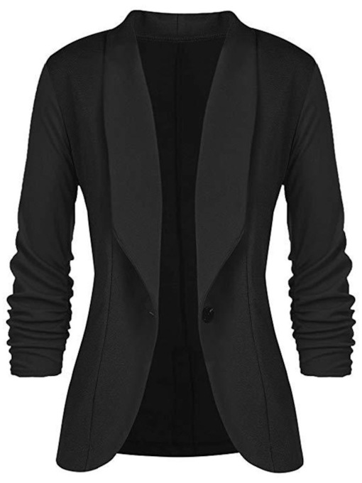 One Button Plain Long Sleeve Fall Women's Blazer