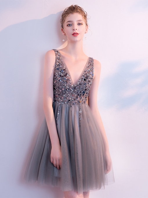 A-Line Beading Sequins V-Neck Cocktail Dress