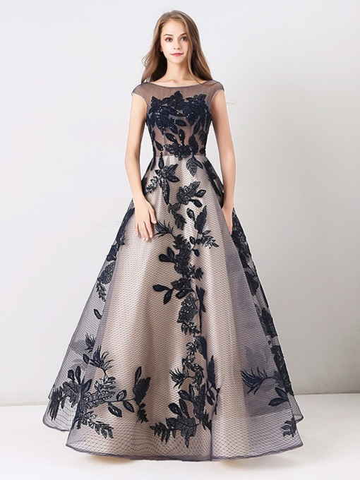 A-Line Appliques Lace Beateau Long Evening Dress 2019