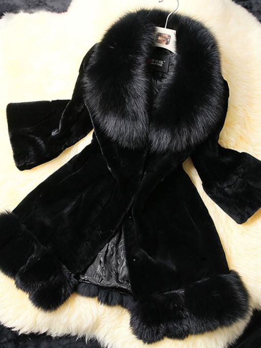 Mid-Length Plain Winter Women's Faux Fur Overcoat