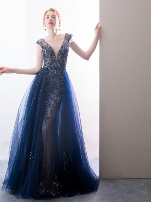 A-Line V-Neck Beading Crystal Evening Dress