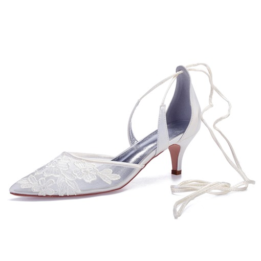 Lace-Up Pointed Toe Stiletto Heel Women's Wedding Shoes