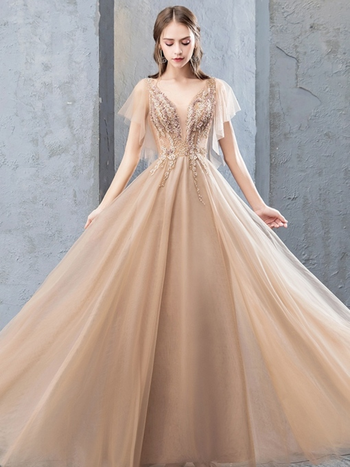 A-Line Lace Flowers Beading Floor-Length Evening Dress 2019