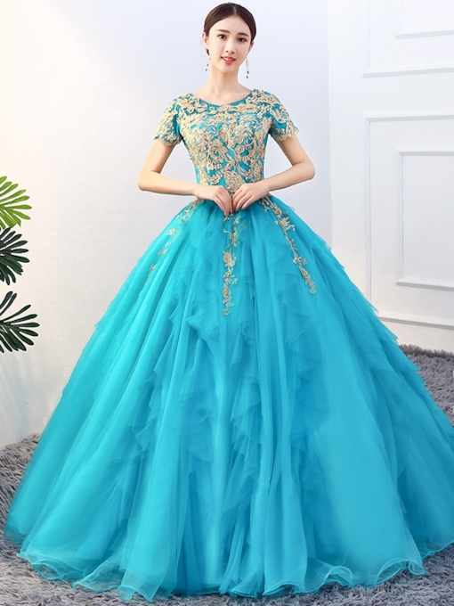 Appliques Ball Gown Scoop Quinceanera Dress