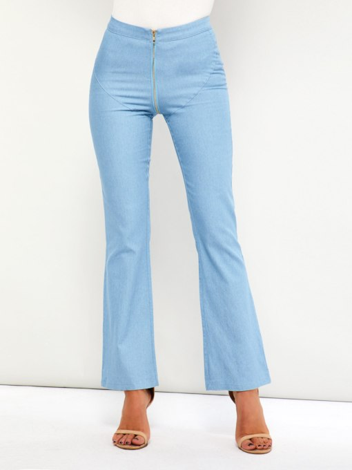Plain Slim Zipper High-Waist Women's Jeans