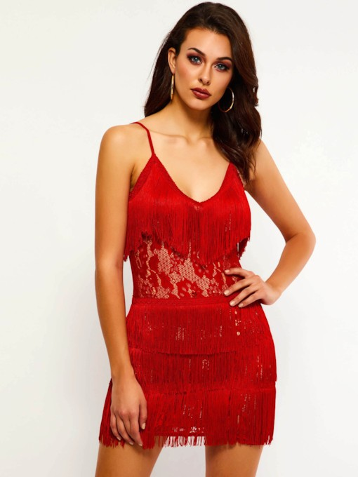 Spaghetti Strap Tassel Women's Sexy Dress