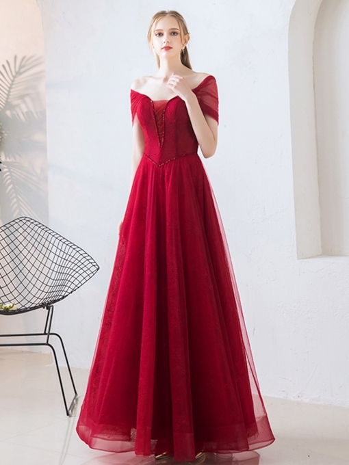 A-Line Short Sleeves Beading Lace Evening Dress