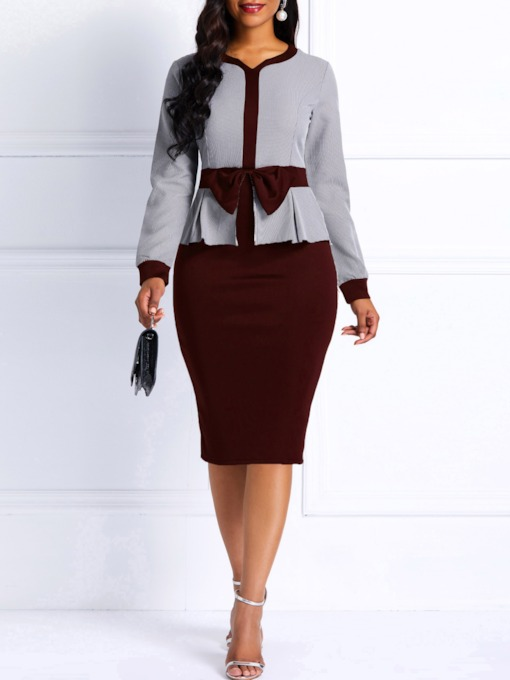Long Sleeve V-Neck Bowknot Women's Bodycon Dress