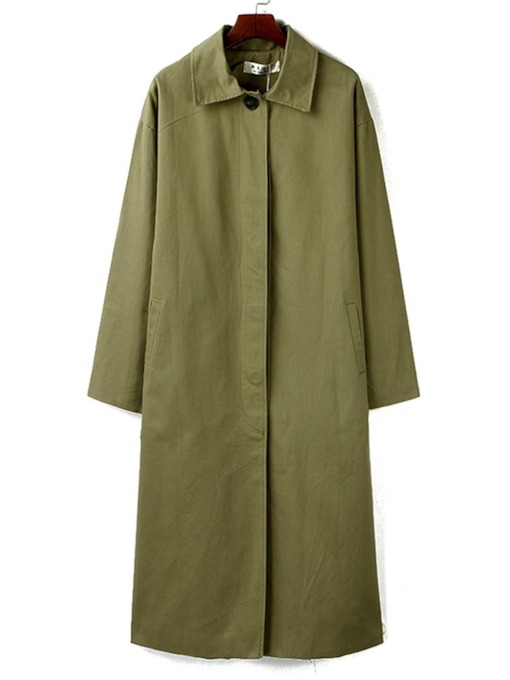 Hidden Button Lapel Long Women's Trench Coat