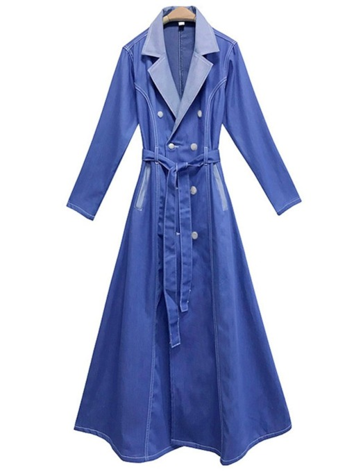 Notched Lapel Lace-Up Double-Breasted Denim Women's Trench Coat