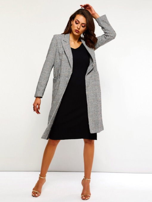 Houndstooth One Button Women's Overcoat