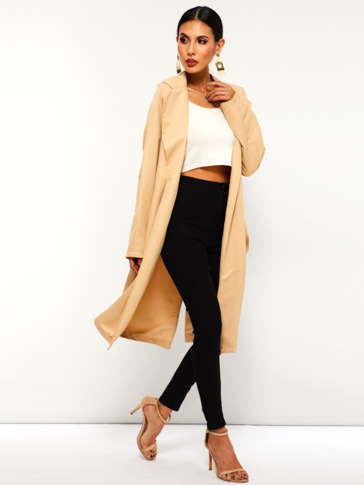 Belt Notched Lapel Lace-Up Camel Coat Women's Trench Coat
