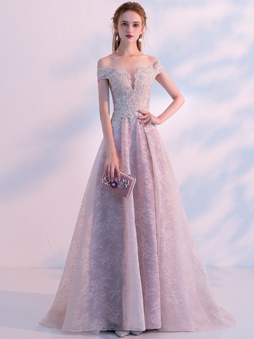 A-Line Off-the-Shoulder Appliques Beading Lace Evening Dress