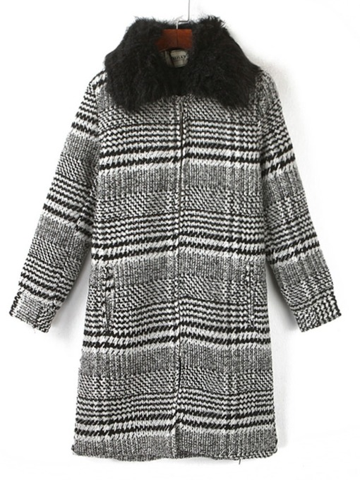 Faux Fur Collar Mid-Length Women's Overcoat
