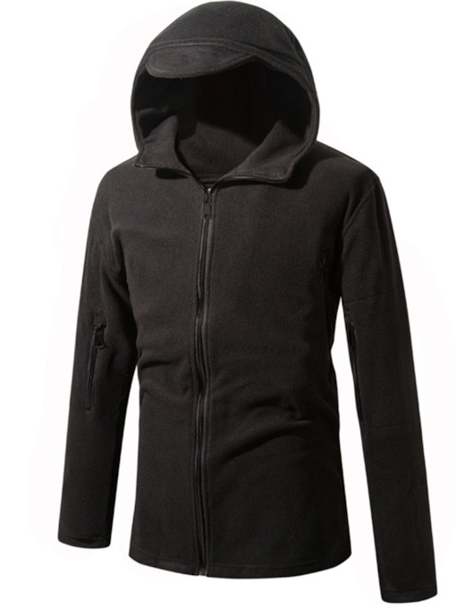 Slim Zipper Plain Cardigan Men's Hoodie