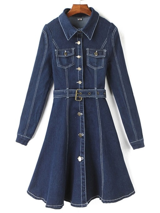 Lapel Single-Breasted Denim Women's Trench Coat