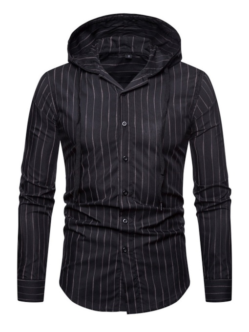 Casual Stripe Hooded Men's Shirt