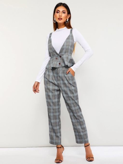 Casual Plaid Vest Falbala Straight Women's Two Piece Sets
