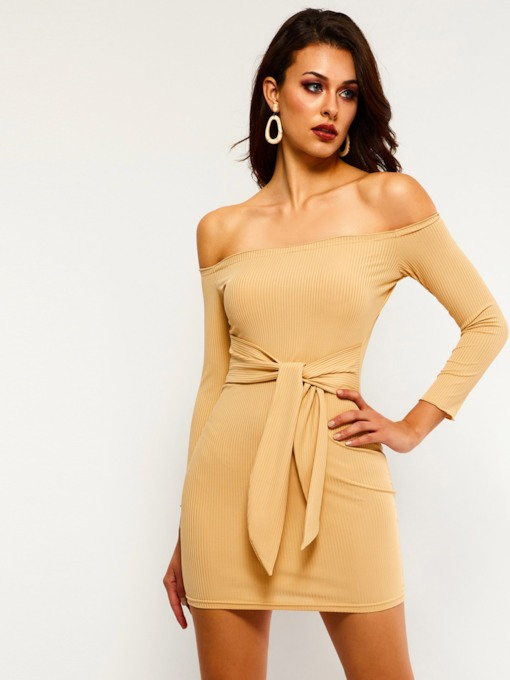 Off Shoulder Sleeve Lace-Up Women's Bodycon Dress
