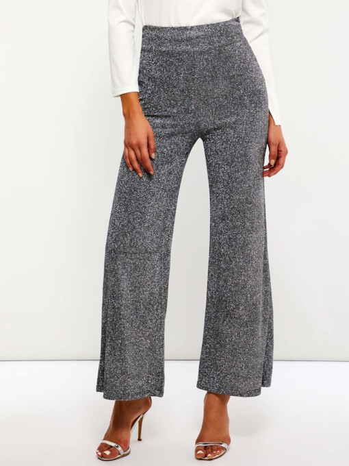 Sequins Loose Plain Full Length Women's Casual Pants