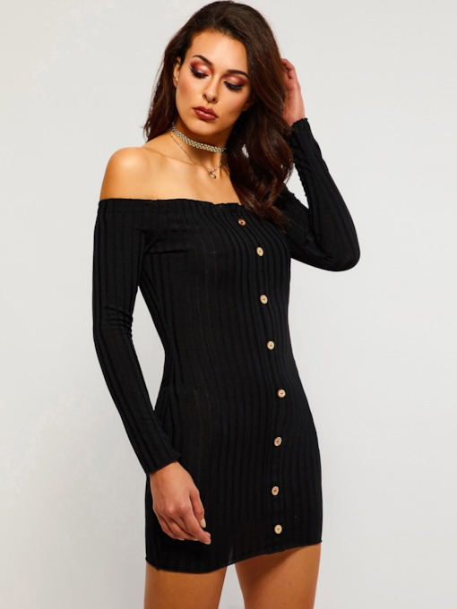 Off Shoulder Single-Breasted Women's Bodycon Dress