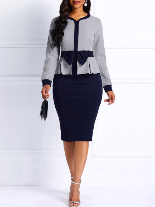 V-Neck Long Sleeve Patchwork Bodycon Women's Bodycon Dress
