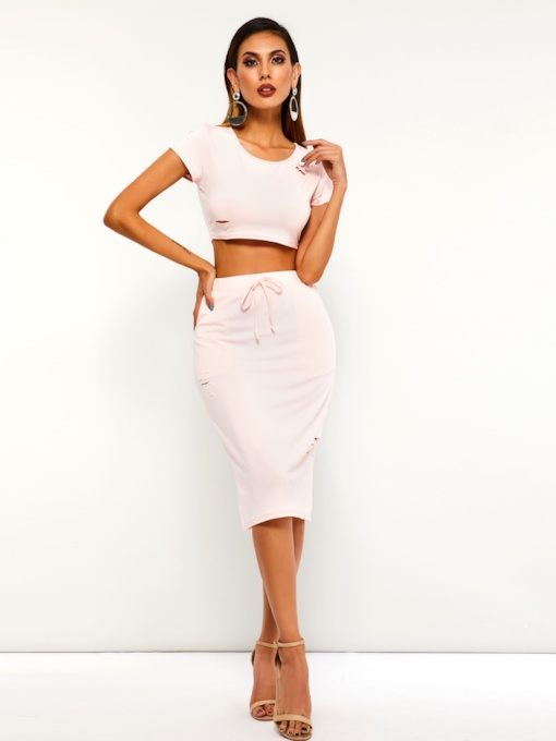 Casual T-Shirt Lace-Up Bodycon Skirt Women's Two Piece Set