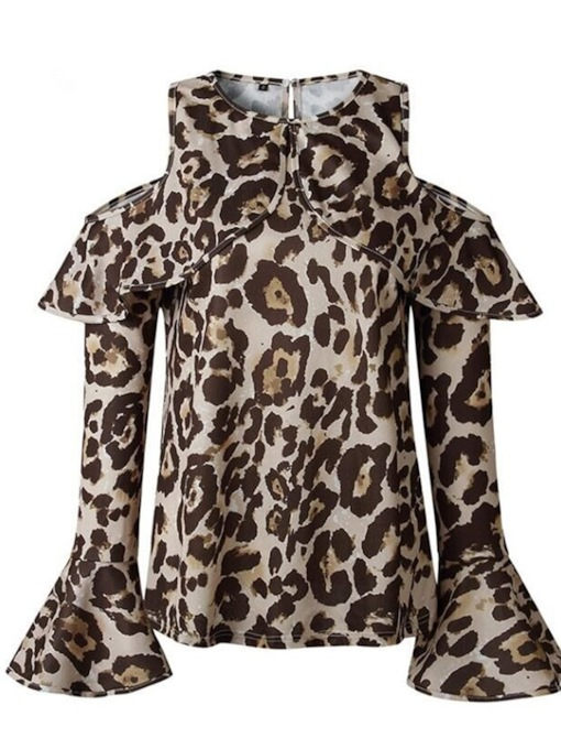 Leopard Cold Shoulder Flare Sleeve Women's T-Shirt