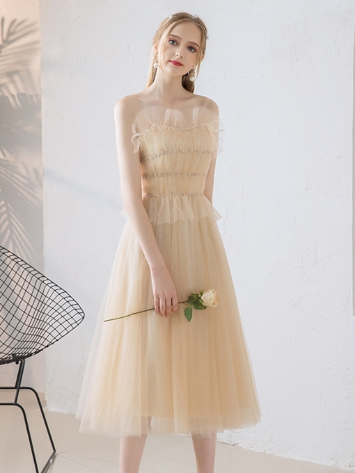 A-LineScalloped-Edge Beaded Pleats Prom Dress