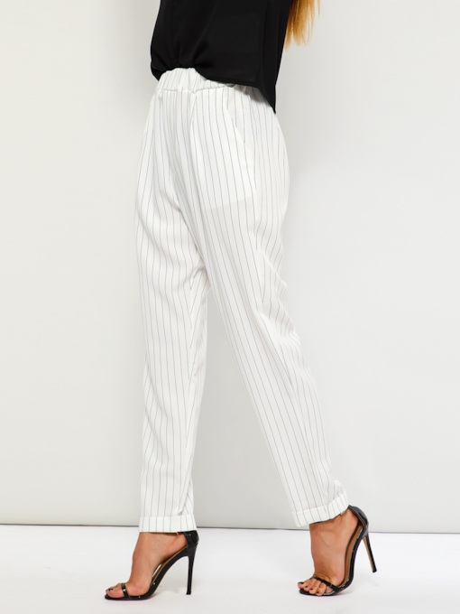 Stripe Loose Elastics High-Waist Women's Casual Pants