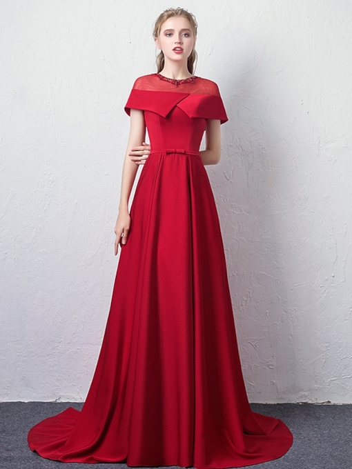 A-Line Beading Jewel Floor-Length Evening Dress 2019