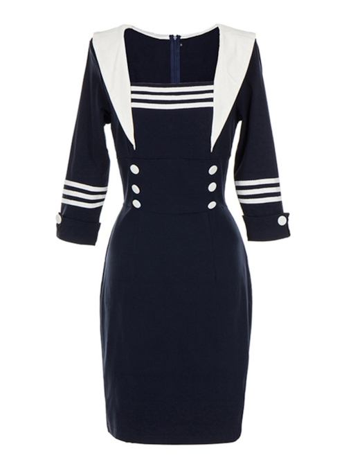 Button Stripe Zipper Women's Bodycon Dress