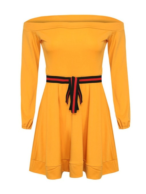 Yellow Off Shoulder Belt Women's Long Sleeve Dress