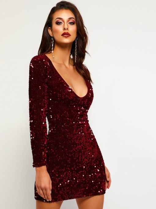 Sequins V-Neck Long Sleeve Women's Party Dress