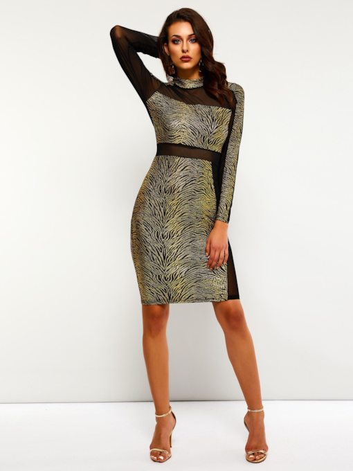 Long Sleeve See Through Women's Bodycon Dress