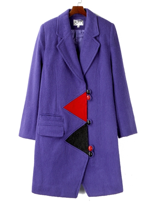 Straight Single-Breasted Pocket Mid-Length Women's Overcoat