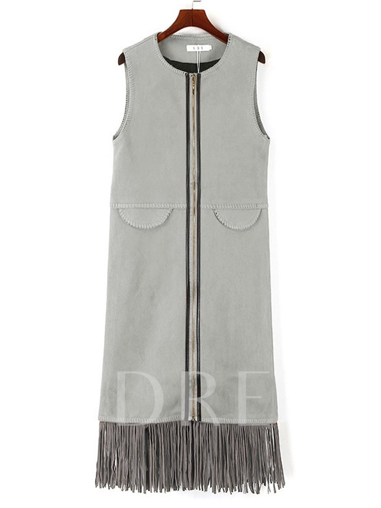 Tassel Zipper Round Neck Fall Women's Vest