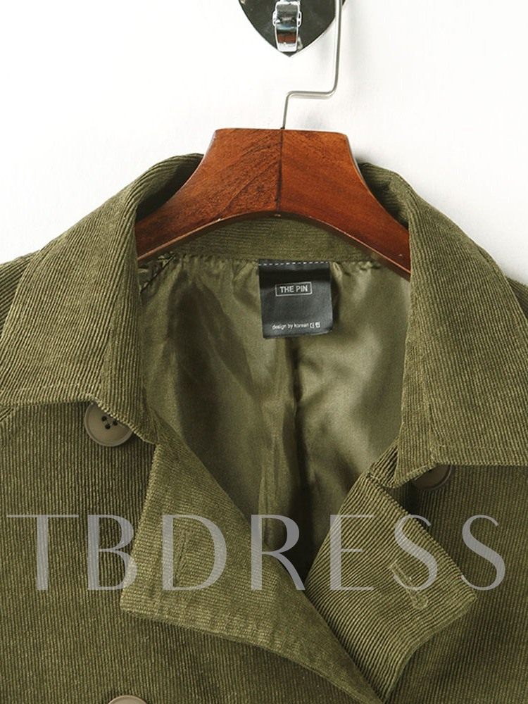 Double-Breasted Lapel Lace-Up Women's Overcoat