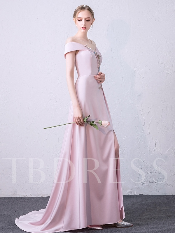 A-Line Flowers Appliques Off-the-Shoulder Evening Dress 2019