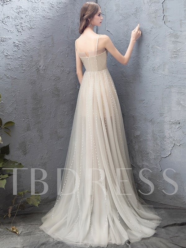 A-Line Spaghetti Straps High Low Beading Prom Dress