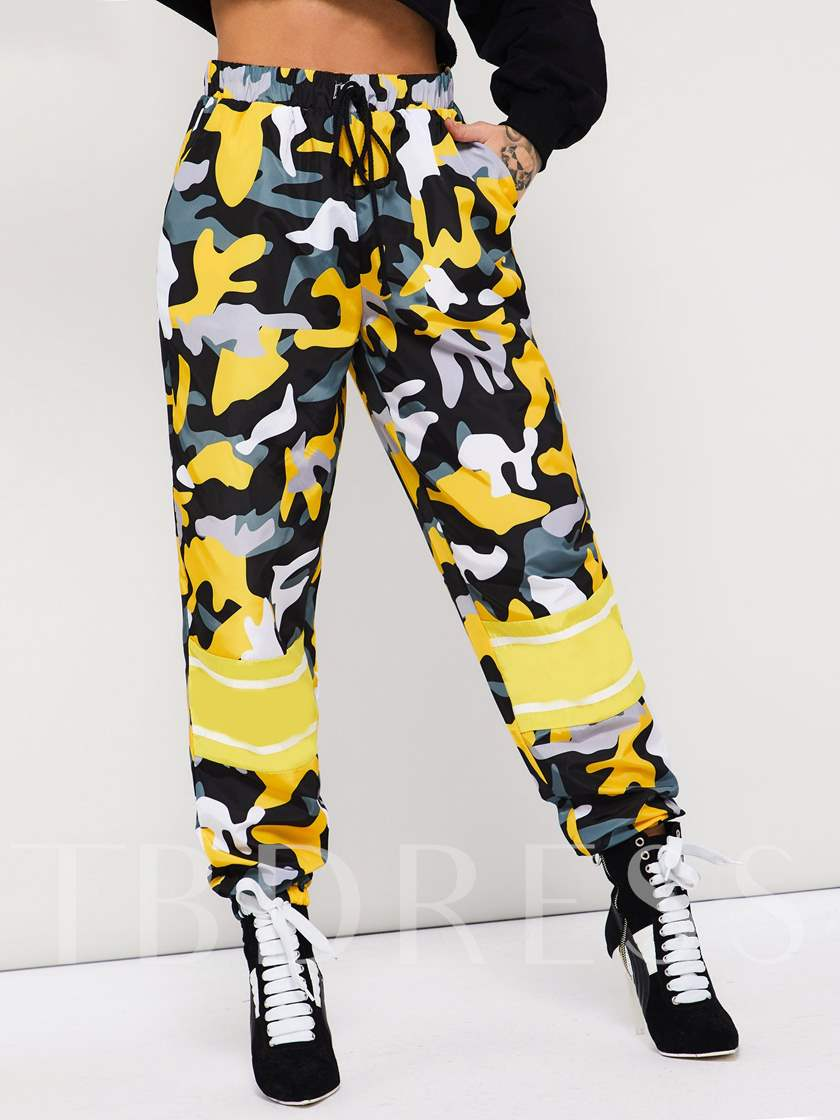 Loose Elastics Color Block Women's Casual Pants