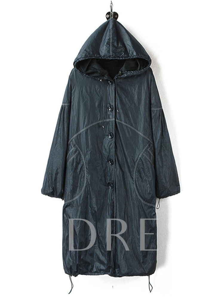 Hooded Mid-Length Single-Breasted Winter Women's Trench Coat